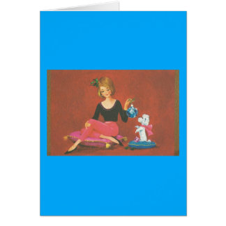 Vintage Christmas Girl With French Poodle Card