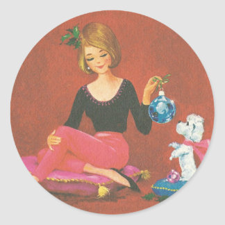 Vintage Christmas Girl With French Poodle Classic Round Sticker