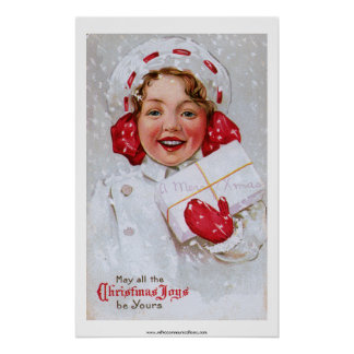 Vintage Christmas Girl with Package Poster