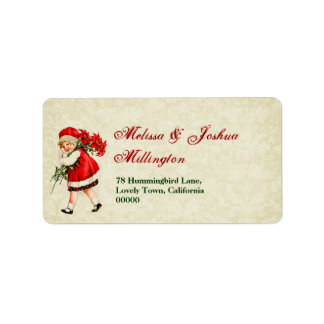 Vintage Christmas Girl with Poinsettia Bouquet Label