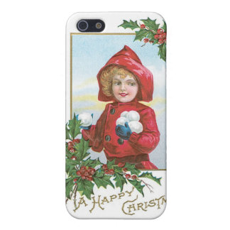 "Vintage Christmas ""girl with snowballs"" iPhone SE/5/5s Cover"