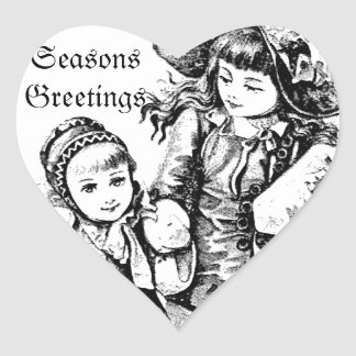 Vintage Christmas Girls. Antique Christmas Holiday Heart Sticker