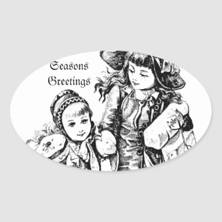 Vintage Christmas Girls. Antique Christmas Holiday Oval Sticker