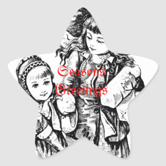 Vintage Christmas Girls. Antique Christmas Holiday Star Sticker