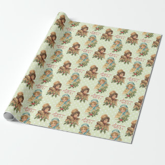 Vintage Christmas Girls Holly Green Polka Dots Gift Wrap Paper