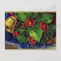 Vintage Christmas Gold Bell And Holly Holiday Postcard