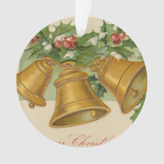 Vintage Christmas Gold Bells & Frozen Holly