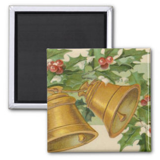 Vintage Christmas Gold Bells & Frozen Holly. Magnet