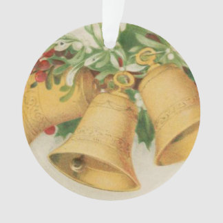 Vintage Christmas Gold Bells & Holly Berries