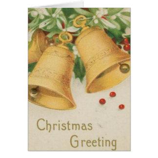 Vintage Christmas Gold Bells & Holly Berries Card