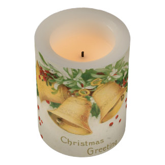Vintage Christmas Gold Bells & Holly Berries Flameless Candle