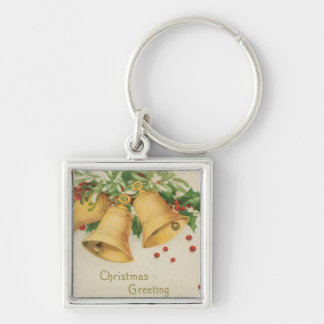 Vintage Christmas Gold Bells & Holly Berries Keychain