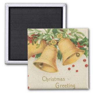 Vintage Christmas Gold Bells & Holly Berries Magnet