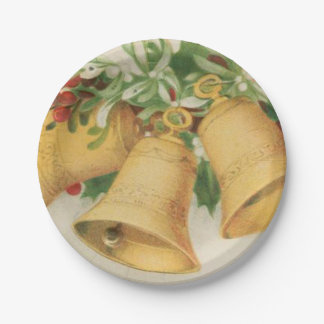 Vintage Christmas Gold Bells & Holly Berries Paper Plate