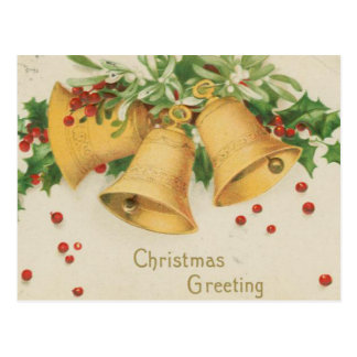 Vintage Christmas Gold Bells & Holly Berries Postcard