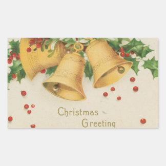 Vintage Christmas Gold Bells & Holly Berries Rectangular Sticker