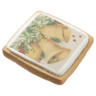 Vintage Christmas Gold Bells & Holly Berries Square Shortbread Cookie