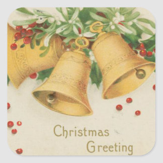 Vintage Christmas Gold Bells & Holly Berries Square Sticker