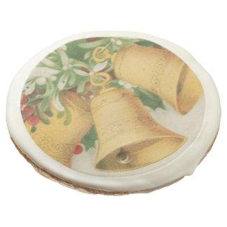 Vintage Christmas Gold Bells & Holly Berries Sugar Cookie