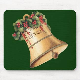 Vintage Christmas Golden Bells, Season's Greetings Mouse Pad