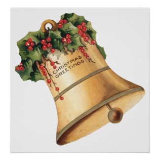 Vintage Christmas Golden Bells, Season's Greetings Poster