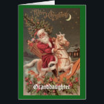 """Vintage Christmas Granddaughter Card<br><div class=""""desc"""">A wonderful,  vintage Santa adorns the outside of this greeting card with a message to a granddaughter on the inside. A great way to wish Merry Christmas to your granddaughter!</div>"""