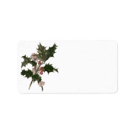 Vintage Christmas, Green Holly Plant with Berries Address Label
