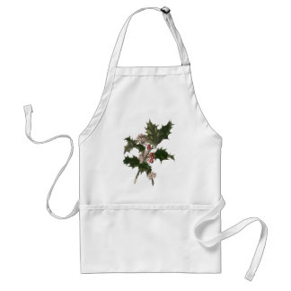 Vintage Christmas, Green Holly Plant with Berries Adult Apron