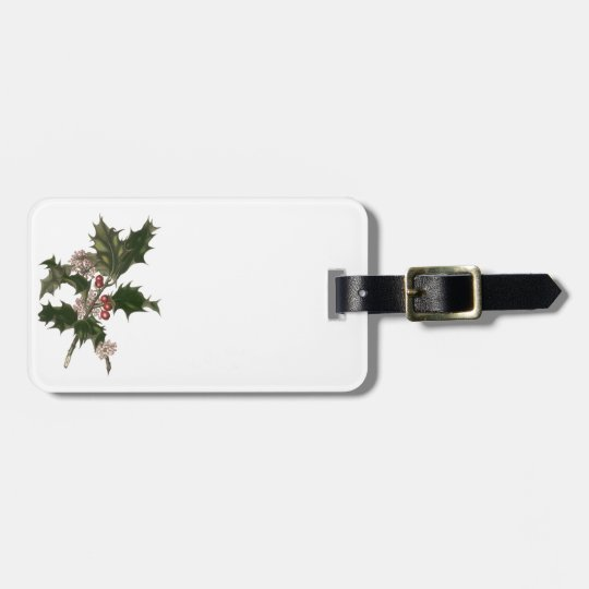 Vintage Christmas, Green Holly Plant with Berries Bag Tag