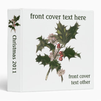Vintage Christmas, Green Holly Plant with Berries Binder
