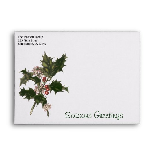 Vintage Christmas, Green Holly Plant with Berries Envelope