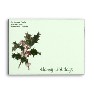Vintage Christmas, Green Holly Plant with Berries Envelopes