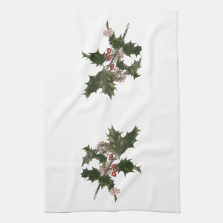 Vintage Christmas, Green Holly Plant with Berries Hand Towel