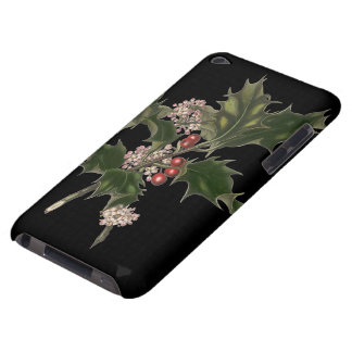 Vintage Christmas, Green Holly Plant with Berries iPod Touch Case-Mate Case