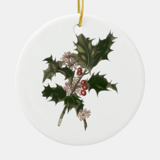 Vintage Christmas, Green Holly Plant with Berries Double-Sided Ceramic Round Christmas Ornament