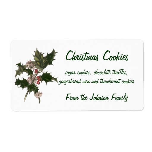 Vintage Christmas, Green Holly Plant with Berries Shipping Label