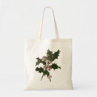 Vintage Christmas, Green Holly Plant with Berries Tote Bag