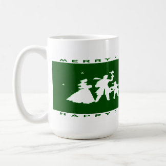 Vintage Christmas Green Silhouette Mug