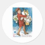 Vintage Christmas Greeting Classic Round Sticker