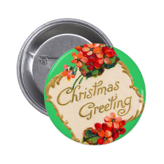 Vintage Christmas Greeting Personalized 2 Inch Round Button