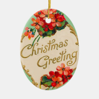 Vintage Christmas Greeting Personalized Ceramic Ornament