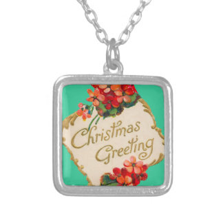 Vintage Christmas Greeting Personalized Square Pendant Necklace