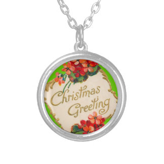Vintage Christmas Greeting Personalized Round Pendant Necklace