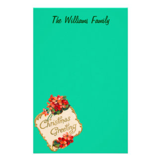 Vintage Christmas Greeting Personalized Stationery Design