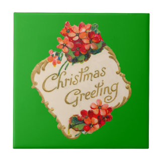 Vintage Christmas Greeting Personalized Ceramic Tiles