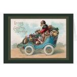 Vintage Christmas Greeting - Santa Claus in Car Cards