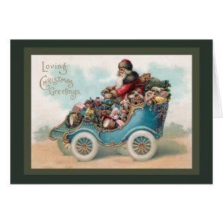 Vintage Christmas Greeting - Santa Claus in Car Card