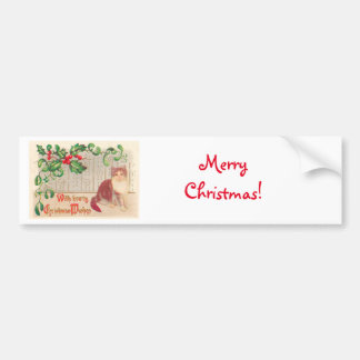 Vintage Christmas - Greeting With Cute Kitten Bumper Stickers