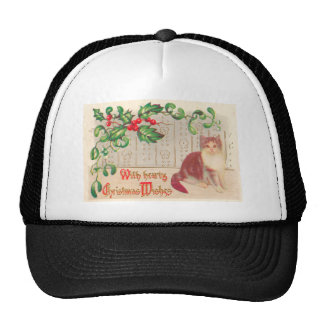 Vintage Christmas - Greeting With Cute Kitten Trucker Hats