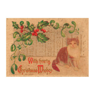 Vintage Christmas Greeting- with cute kitten Queork Photo Print